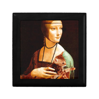 Lady with a Kitten Small Square Gift Box
