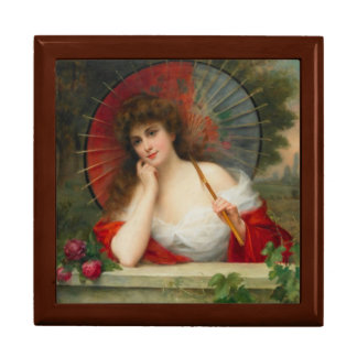Lady With a Parasol Wooden Keepsake Box