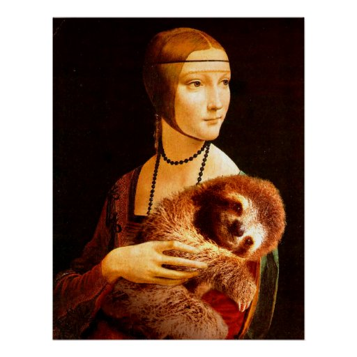 Lady with a Sloth Poster
