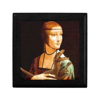 Lady With a Velociraptor Small Square Gift Box