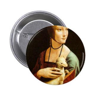 Lady with an Ermine by Leonardo Da Vinci c. 1490 6 Cm Round Badge
