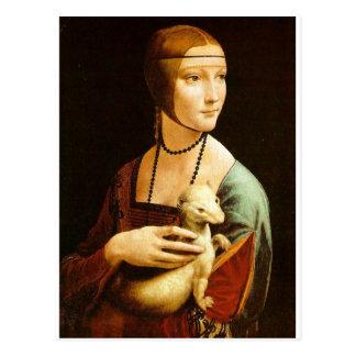 Lady with an Ermine by Leonardo Da Vinci c. 1490 Postcard