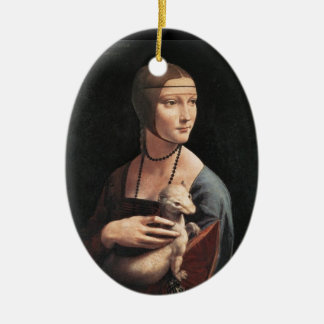 Lady with an Ermine Ceramic Oval Decoration