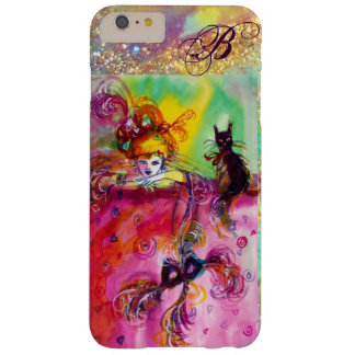 LADY WITH BLACK CAT AND MASK  Masquerade Monogram Barely There iPhone 6 Plus Case