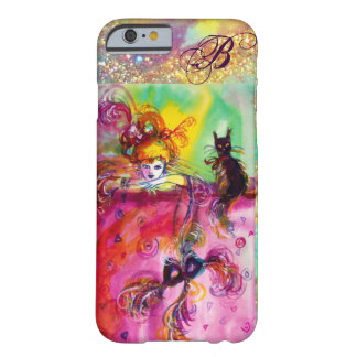 LADY WITH BLACK CAT AND MASK  Masquerade Monogram Barely There iPhone 6 Case