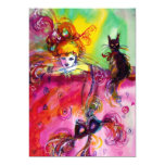 LADY WITH BLACK CAT /Mardi Gras  Masquerade Party 13 Cm X 18 Cm Invitation Card