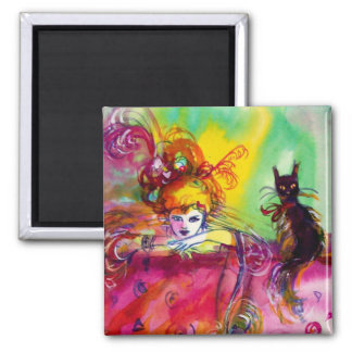 LADY WITH BLACK CAT SQUARE MAGNET