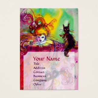 LADY WITH BLACK CAT / Venetian Masquerade Ball Business Card