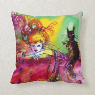 LADY WITH BLACK CAT Venetian Masquerade Ball Cushions