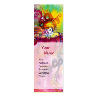 LADY WITH BLACK CAT / Venetian Masquerade Ball Pack Of Skinny Business Cards