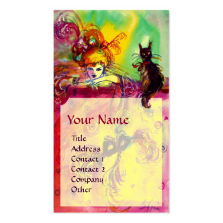 LADY WITH BLACK CAT / Venetian Masquerade Ball Pack Of Standard Business Cards