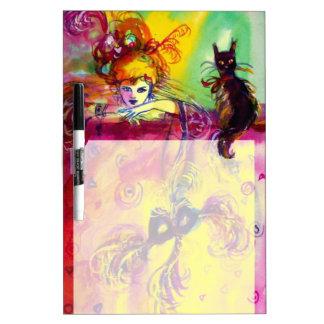 LADY WITH BLACK CAT , Venetian Masquerade Masks Dry-Erase Whiteboard