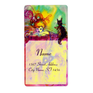 LADY WITH BLACK CAT , Venetian Masquerade Masks Shipping Label