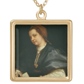 Lady with Book of Verse by Petrarch, c.1514 (oil o Gold Plated Necklace