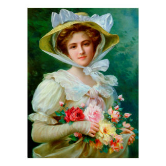 Lady With Bouquet Matte Poster