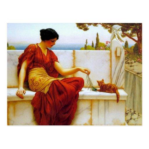 Lady with Cat - Godward Postcard