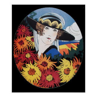 Lady with Chrysanthemum Flowers ,Black Poster