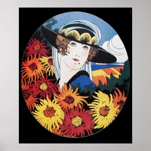Lady with Chrysanthemum Flowers ,Black Poster