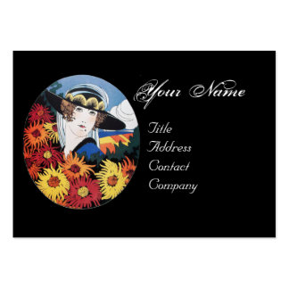 Lady with Chrysanthemum Flowers Business Cards