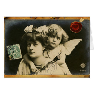 LADY WITH CUPID,RED HEART WAX SEAL Valentine's Day Card