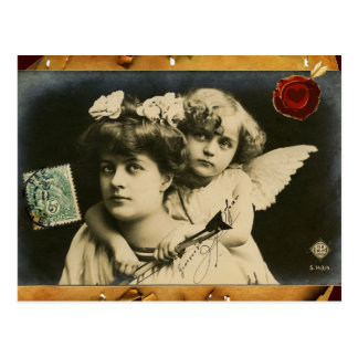 LADY WITH CUPID,RED HEART WAX SEAL Valentine's Day Postcard