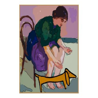 Lady with Dachshund Poster