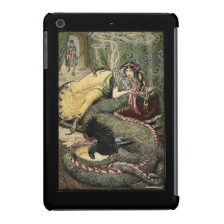 Lady with dragon, raven, and snakes iPad mini cases