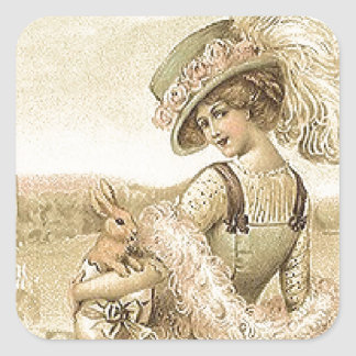 Lady with eggs and rabbits square sticker