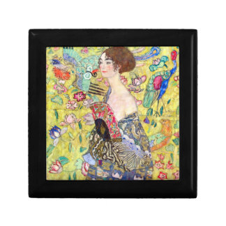 Lady with fan by Gustav Klimt Small Square Gift Box