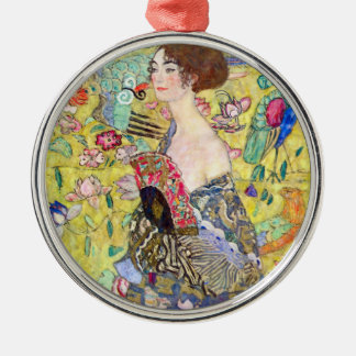 Lady with Fan by Gustav Klimt, Vintage Japonism Christmas Ornament