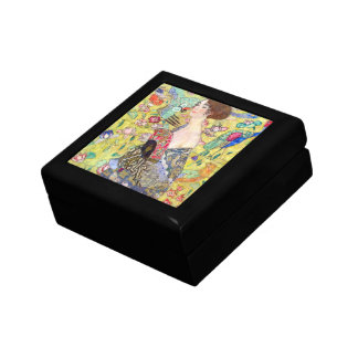 Lady with Fan by Gustav Klimt, Vintage Japonism Small Square Gift Box