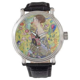 Lady with Fan by Gustav Klimt, Vintage Japonism Wristwatch