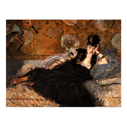 Lady with Fans by Edouard Manet Postcard