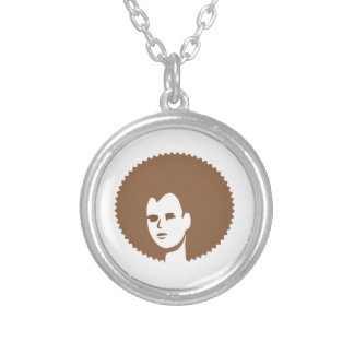 Lady with Fro Round Pendant Necklace