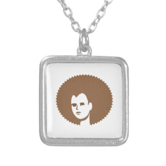 Lady with Fro Square Pendant Necklace