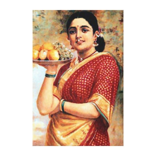 Lady with Fruits Art Print
