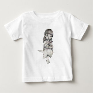 Lady With Giraffe, Pencil Drawing, Black And White Baby T-Shirt