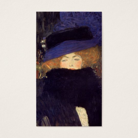 Lady with Hat and Feather Boa - Gustav Klimt Business Card