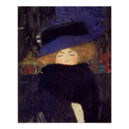 Lady with Hat and Feather Boa - Gustav Klimt Posters