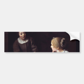 Lady with Maidservant Holding Letter by Vermeer Car Bumper Sticker