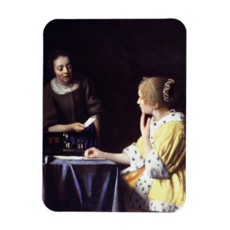 Lady with Maidservant Holding Letter by Vermeer Rectangle Magnet