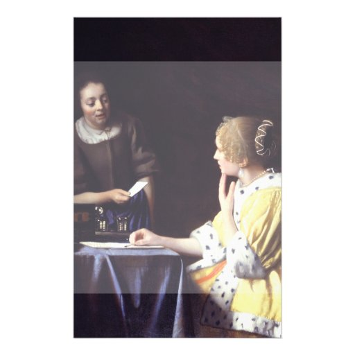 Lady with Maidservant Holding Letter by Vermeer Flyers