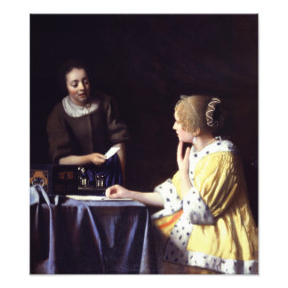 Lady with Maidservant Holding Letter by Vermeer Photo Art