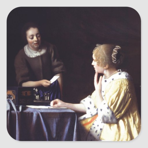 Lady with Maidservant Holding Letter by Vermeer Square Sticker