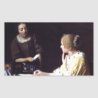 Lady with Maidservant Holding Letter by Vermeer Rectangular Sticker
