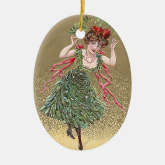 Lady with Mistletoe Dress Vintage Christmas Christmas Ornament