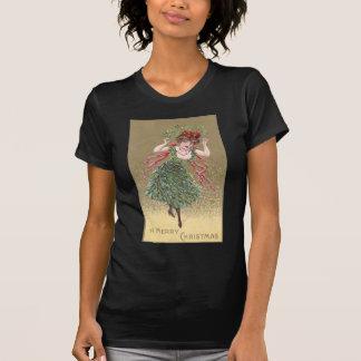 Lady with Mistletoe Dress Vintage Christmas Tshirts