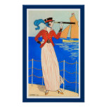 LADY WITH MONOCLE ART DECO NAUTICAL BEAUTY FASHION POSTER