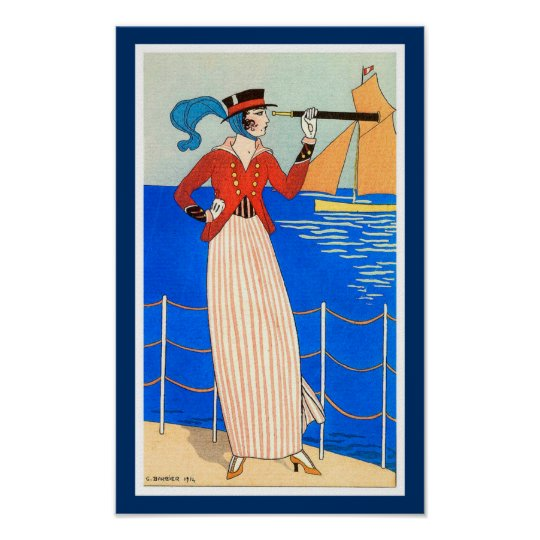 LADY WITH MONOCLE ART DECO NAUTICAL BEAUTY FASHION