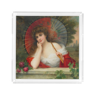 Lady With Parasol Classic Acrylic Tray